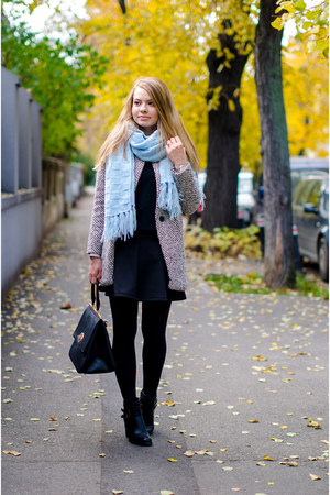 light blue vintage scarf - black Sheinside coat - black Stradivarius skirt