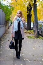 light blue vintage scarf - black Sheinside coat - black Stradivarius skirt