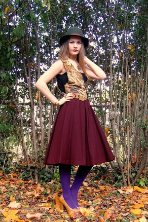 gold vintage vest - bronze shoes - olive green Miss Ruths Time Bomb vintage hat