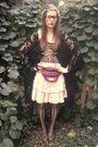 pink vintage skirt - black vintage jacket - brown vintage top - brown thrifted s