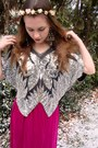Hot-pink-vintage-skirt-silver-vintage-top-black-forever21-heels-bronze-for