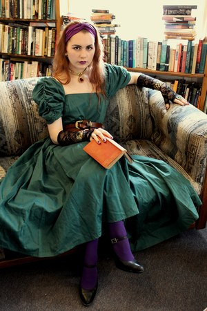green vintage laura ashely dress - amethyst Express tights - purple wrapped turb