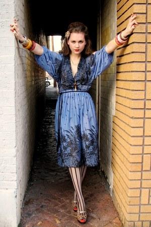 blue Miss Ruths Time Bomb dress - black tights - brown leopard print rugged ware