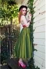 Black-bowler-vintage-hat-olive-green-silky-vintage3-skirt