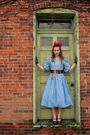 blue vintage dress - brown vintage belt - brown vintage shoes - black vintage gl