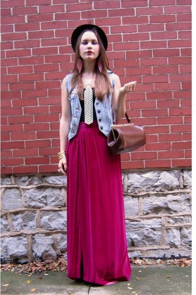 pink vintage skirt - blue vintage vest - brown vintage - brown vintage hat - whi