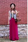 Pink-vintage-skirt-blue-vintage-vest-brown-vintage-bag-brown-vintage-hat-