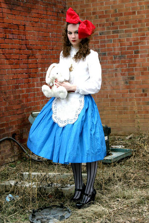 blue Miss Ruths Time Bomb skirt - white Salvation Army blouse - black Ross shoes