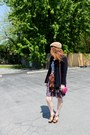 Nude-vintage-hat-navy-vintage-jacket-bronze-leopard-print-forever21-heels-