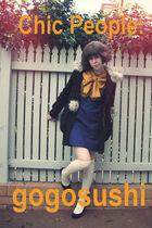 white sweater - black boots - white dress - blue dress - blue skirt - blue