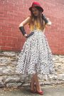 Yellow-old-navy-top-white-self-made-skirt-red-thrifted-shoes-black-target-