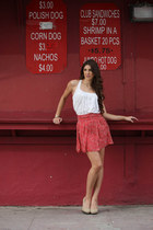 ruby red floral print pinkclubwear skirt - white tank top pinkclubwear top