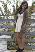 light lace H&M dress - black booties Target boots - Forever 21 jacket