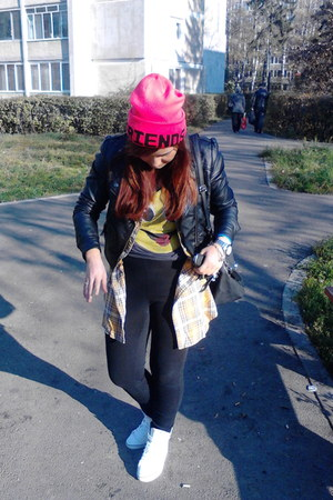 fishbone shirt - H&M hat - Bershka jacket - Adidas sneakers