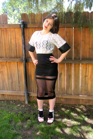 mesh Nasty Gal skirt - asos top - Nasty Gal heels