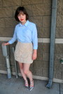 Light-blue-button-down-asos-shirt-beige-cameo-skirt-silver-t-bar-zara-heels