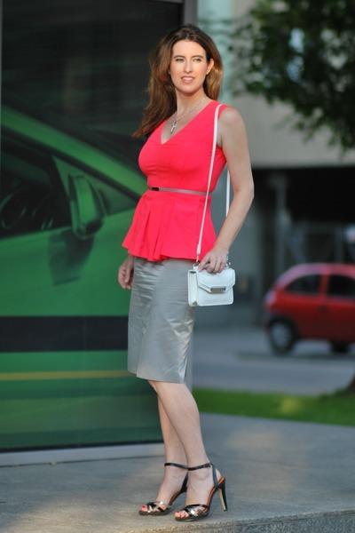 orange H&M blouse - silver Hugo Boss skirt - black Diesel sandals