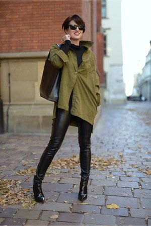dark khaki Sheinsidecom shirt - black Diesel boots - black asos pants