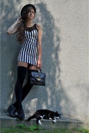 black DinSko shoes - white H&M dress - black Forever 21 hat