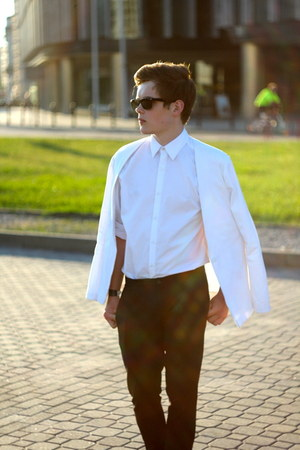 black brogues gino rossi shoes - white minimalistic my design blazer