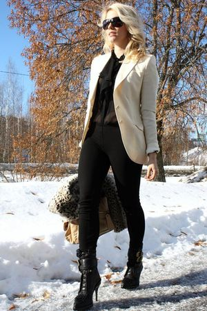 black Zara blouse - black Alexander Wang shoes - beige Dolce&Gabbana blazer