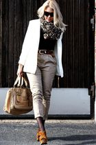 brown Miu Miu shoes - beige Chloe accessories - beige JC pants - white 2ndhand b