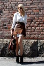 Brown-2ndhand-skirt-white-2ndhand-blouse-brown-mulberry-purse-black-topsho