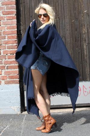 brown 2ndhand boots - dark brown Mulberry bag - light blue Ralph Lauren shorts