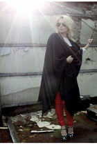 navy 2ndhand cape - red GinaTricot pants - navy Miu Miu heels