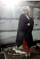 navy 2ndhand cape - red GinaTricot pants - navy Miu Miu heels