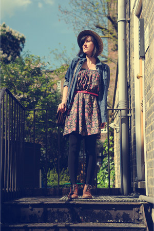 bubble gum worn as dress vintage skirt - tawny Topshop boots