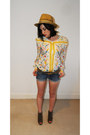 Blue-topshop-shorts-yellow-vintage-blouse-tawny-top-wedges