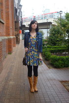 blue vintage dress - burnt orange vintage boots