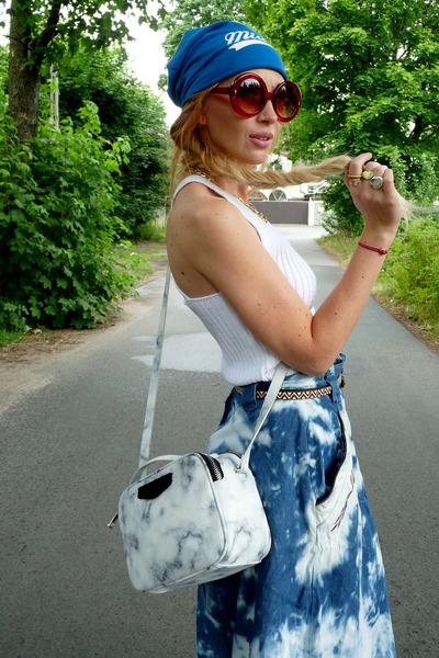 white Parfois bag - navy DIY skirt - white new look top