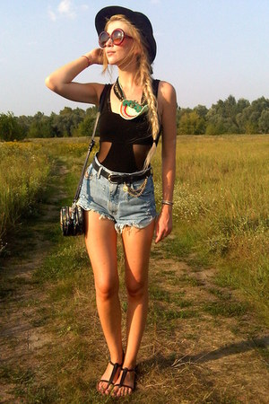 black second hand hat - black Parfois bag - navy DIY shorts