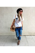 white doctor fake t-shirt - navy Zara jeans - camel River Island accessories