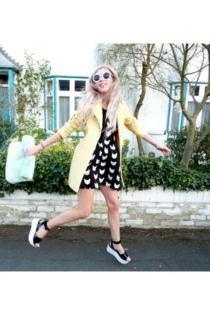 black H&M dress - light yellow Primark coat - lime green Topshop bag