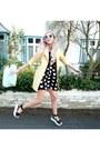 Black-h-m-dress-light-yellow-primark-coat-lime-green-topshop-bag