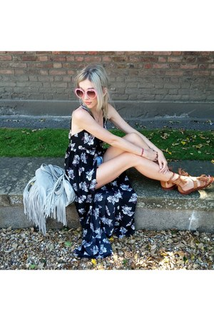 navy Boohoo dress - heather gray Primark bag - light pink Boohoo sunglasses