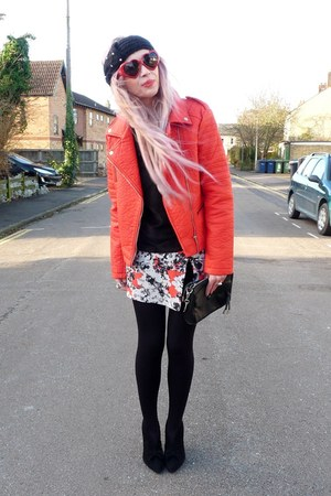 red Primark jacket - red Moschino glasses