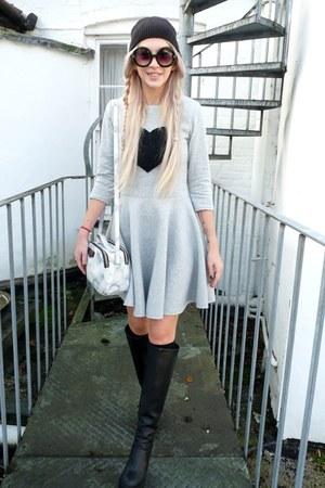black H&M boots - black Primark hat - white Parfois bag
