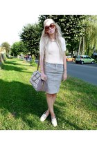 beige F&F sweater - nude Zara shoes - beige Parfois bag