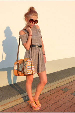 light brown second hand dress - carrot orange Parfois bag