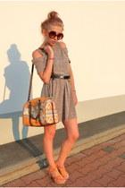 light brown second hand dress - carrot orange Parfois bag