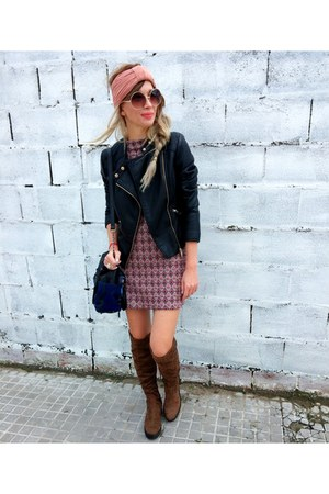pink Zara dress - camel Bershka boots - black F&F jacket