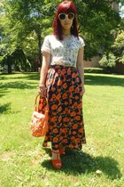 carrot orange maxi skirt made by me skirt - carrot orange made by my mom bag