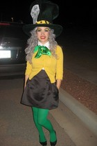 green hat - gold Forever 21 cardigan - black Betsey Johnson skirt