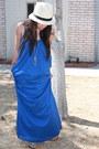 91208692 Blue Maxi Dress Zara Dresses, Cream Fedora Express Hats, Silver ...