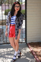 red high waisted Forever 21 shorts - black Express glasses - heather gray Foreve