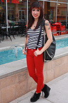 red skinny Hot Topic pants - white tank top Express top - black wedge booties Do